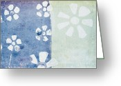 Retro Pastels Greeting Cards - Floral Pattern On Old Grunge Paper Greeting Card by Setsiri Silapasuwanchai