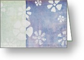 Grungy Pastels Greeting Cards - Floral Pattern On Old Grunge Wall Greeting Card by Setsiri Silapasuwanchai