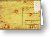 Backside Greeting Cards - Floral Pattern On Old Postcard Greeting Card by Setsiri Silapasuwanchai