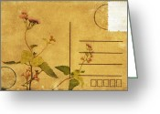 Backside Greeting Cards - Floral Pattern On Postcard Greeting Card by Setsiri Silapasuwanchai