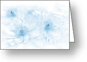 Blue Florals Greeting Cards - Floral Peonies in Blue Greeting Card by Jennie Marie Schell