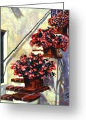  Biltmore Hotel Greeting Cards - Floral Staircase Greeting Card by David Lloyd Glover