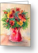 Reds Greeting Cards - Floral Still Life Greeting Card by Arline Wagner