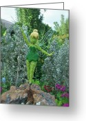 Cinderella Greeting Cards - Floral Tinker Bell Greeting Card by Thomas Woolworth