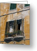 Photorealistic Greeting Cards - Florence Balcony Greeting Card by Jiji Lee