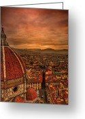 Place Greeting Cards - Florence Duomo At Sunset Greeting Card by McDonald P. Mirabile