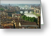 Roof Greeting Cards - Florence. View Of Ponte Vecchio Over River Arno. Greeting Card by Norberto Cuenca