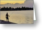 Photorealism Greeting Cards - Florida Fishing At Sunset Greeting Card by Florene Welebny