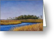 River Pastels Greeting Cards - Florida Marsh in June Greeting Card by Susan Jenkins