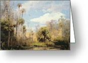 Hudson River School Greeting Cards - Florida Palms Greeting Card by Herman Herzog
