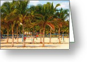 South Beach Greeting Cards - Florida Style Volleyball Greeting Card by David Lee Thompson