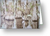 Florida Pyrography Greeting Cards - Florida Wildlife Pyrograpgic Portrait by Pigatopia Greeting Card by Shannon Ivins