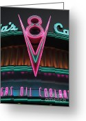 California Adventure Greeting Cards - Flos Cafe - Radiator Springs Cars Land - Disney California Adventure - 5D17748 Greeting Card by Wingsdomain Art and Photography