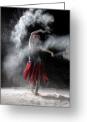 Red Dress Greeting Cards - Flour Dancer Series Greeting Card by Cindy Singleton