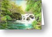River Pastels Greeting Cards - Flow gently Greeting Card by Vanda Luddy