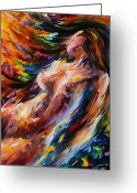 Afremov Greeting Cards - Flow Of Love Greeting Card by Leonid Afremov