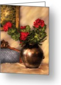 Classy Greeting Cards - Flower - Geraniums on a table  Greeting Card by Mike Savad