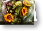Gardeners Greeting Cards - Flower - Sunflower - Gardeners toolbox  Greeting Card by Mike Savad