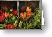 You Greeting Cards - Flower - Tulip - Tulips in a window Greeting Card by Mike Savad
