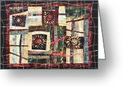 Wall Quilt Tapestries - Textiles Greeting Cards - Flower Abstract Greeting Card by Patty Caldwell