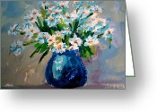 Flower Still Life Prints Painting Greeting Cards - Flower arrangement III Greeting Card by Patricia Awapara