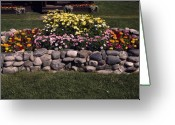 Rock Walls Greeting Cards - Flower Bed and Rock Greeting Card by Sally Weigand