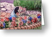 Sketchbook Greeting Cards - Flower Bed Sketchbook Project Down My Street Greeting Card by Irina Sztukowski