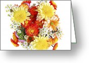 Orange Greeting Cards - Flower bouquet Greeting Card by Elena Elisseeva