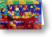 Mexican Pastels Greeting Cards - Flower Cart Greeting Card by Candy Mayer