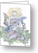 Blonde Girl Greeting Cards - Flower Fairy Greeting Card by Ellen Henneke