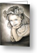 Blue Art Pastels Greeting Cards - Flower Girl Greeting Card by Anastasis  Anastasi