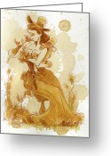Steampunk Greeting Cards - Flower Girl Greeting Card by Brian Kesinger