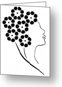 Black And White Floral Greeting Cards - Flower girl Greeting Card by Frank Tschakert