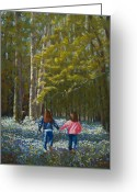 Blue Flowers Pastels Greeting Cards - Flower Girls Greeting Card by James Geddes