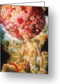 Goddess Posters Greeting Cards - Flower Goddess Greeting Card by Gunter  Hortz