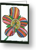 Outsider Art Mixed Media Greeting Cards - Flower Greeting Card by Jeffrey Peterson