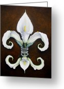 Fleur Greeting Cards - Flower of New Orleans White Calla Lilly Greeting Card by Judy Merrell