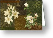 Carpet Painting Greeting Cards - Flower Patchwork 2 Greeting Card by JQ Licensing