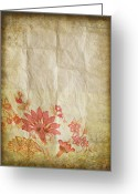 Texture Floral Greeting Cards - Flower Pattern On Old Paper Greeting Card by Setsiri Silapasuwanchai