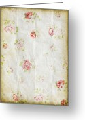 Texture Floral Greeting Cards - Flower Pattern Retro Design Greeting Card by Setsiri Silapasuwanchai