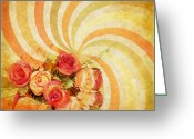 Burnt Greeting Cards - Flower Pattern Retro Style Greeting Card by Setsiri Silapasuwanchai