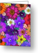 Colorful Photography Painting Greeting Cards - Flower Pond Vertical Greeting Card by JQ Licensing