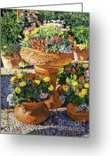 Gardens Greeting Cards - Flower Pots in Sunlight Greeting Card by David Lloyd Glover