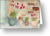 Brick Greeting Cards - Flower Pots Greeting Card by Ken Powers