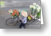Vietnam Greeting Cards - Flower seller Greeting Card by Marion Galt