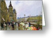 Architecture Painting Greeting Cards - Flower Sellers by the Seine Greeting Card by Georges Stein