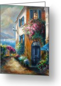 Contry Greeting Cards - Flower shop by the Sea Greeting Card by Gina Femrite