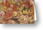 Beautiful Flowers Greeting Cards - Flower Sketch Greeting Card by Pierre Auguste Renoir