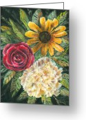 Plants Pastels Greeting Cards - Flower Trio Greeting Card by Arline Wagner