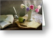 Israel Greeting Cards - Flower Vase And Pear On Board Greeting Card by Copyright Anna Nemoy(Xaomena)